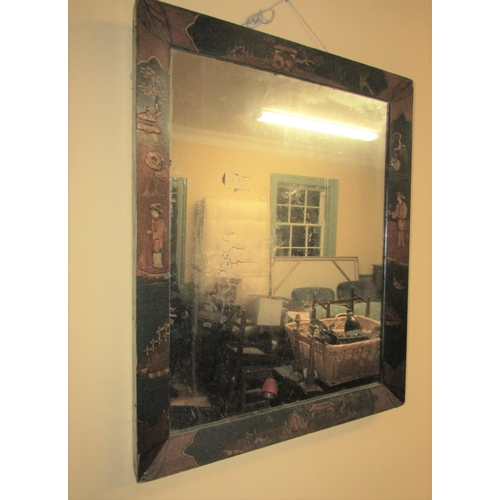 4 - Regency Jappaned Rectangular Form Wall Mirror Approximately 30 Inches High x 24 Inches Wide...