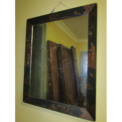 4 - Regency Jappaned Rectangular Form Wall Mirror Approximately 30 Inches High x 24 Inches Wide