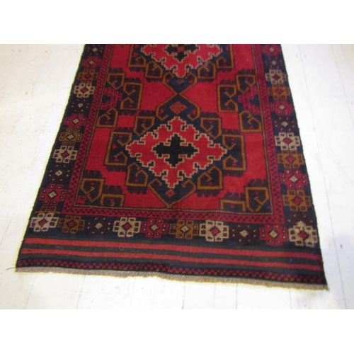44 - Persian Pure Wool Rug Geometric Pattern Decoration with Twin Medallion Centre Motifs Approximately 6...