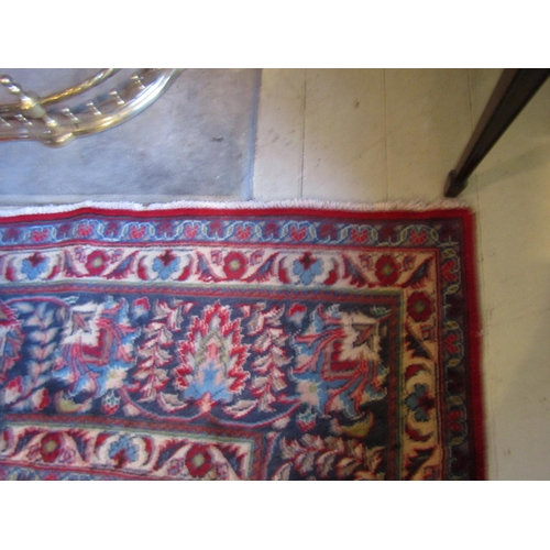 45 - Large Persian Pure Wool Rug Burgundy and Navy Ground Central Medallion Motif Decoration Approximatel...