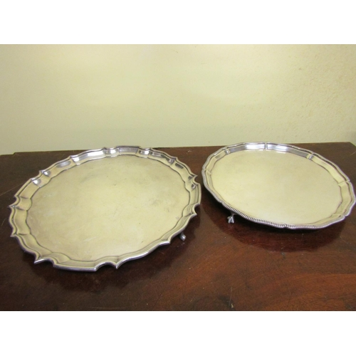 49 - Two Antique Silver Plated Platters Scallop Edged Form Largest Approximately 14 Inches Diameter...