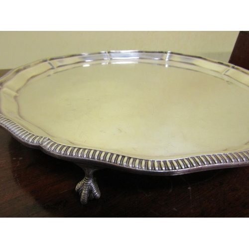 49 - Two Antique Silver Plated Platters Scallop Edged Form Largest Approximately 14 Inches Diameter