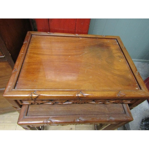 51 - Set of Four Carved Hardwood Graduated Form Occasional Tables Largest Approximately 16 Inches Wide x ...