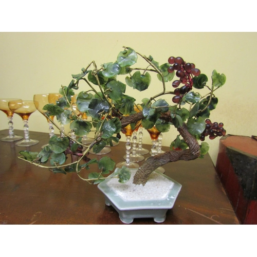 53 - Unusual Oriental Jade and Other Agate Decorated Bonsai Tree Approximately 12 Inches Wide x 10 Inches...