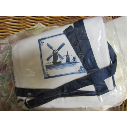 55 - Collection of Various Linens including Laura Ashley and Carry Basket...