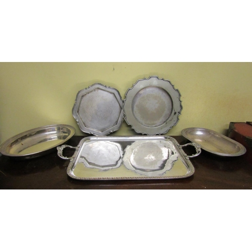 56 - Collection of Various Silver Plate including Platters Taza and Others Quantity As Photographed...