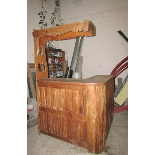 Carved Pitch Pine Freestanding Bar Unit Electrified Canopy Cover Well Constructed Approximately 4ft 6 Inches Wide x 4ft Deep Shelves Contained within