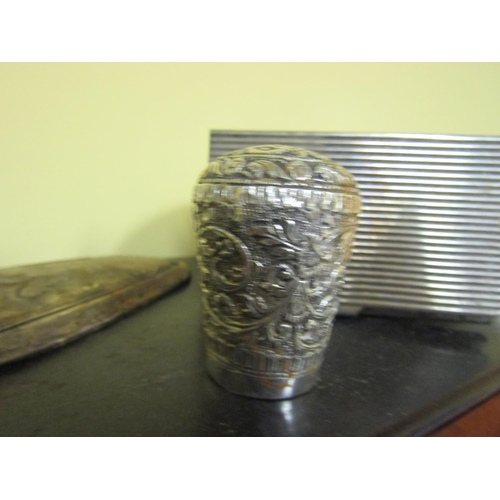 57 - Wine Bottle Coaster Circular Ribbed Form with Ladies Buckle and Other Items Some Silver Content...