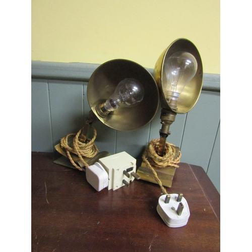 6 - Pair of Edwardian Cast Brass Wall Mounted Lights Electrified Working Order Each Approximately 12 Inc...