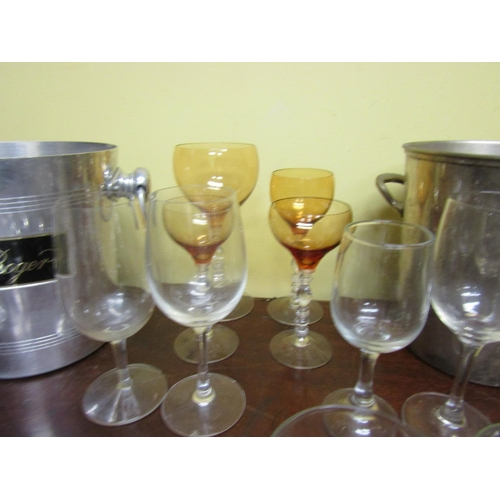 62 - Collection of Various Crystal including Two Champagne Ice Buckets Pol Roger Quantity As Photographed...