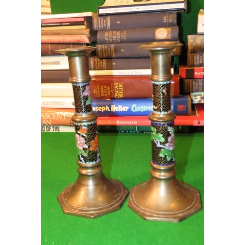 Pair of Cloisonne Decorated Candle Rests Each Approximately 9 Inches High Attractively Detailed
