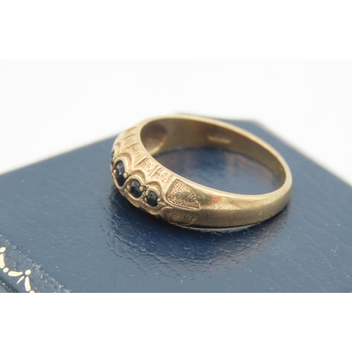 1 - Sapphire and Diamond Ring Mounted on 9 Carat Yellow Gold with Flared Headband Size R and a Half...