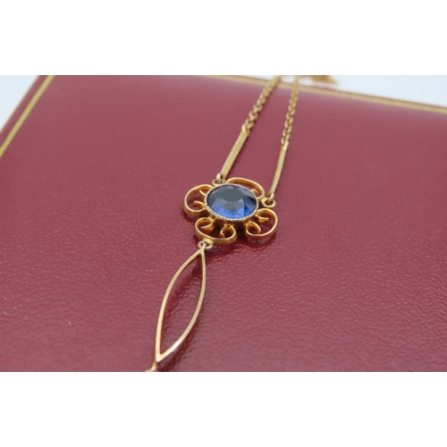 10 - Twin Sapphire Round Cut Pendant Necklace Scroll Setting Mounted on 9 Carat Gold Chain Attractive For...