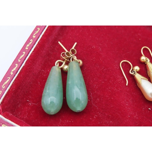 11 - Two Pairs of Earrings with 9 Carat Yellow Gold Fittings One Pair Comprising Jadeite Drops the Other ...