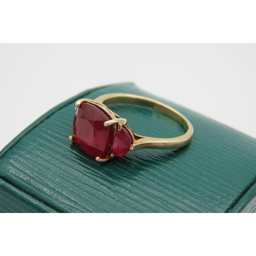 13 - 9 Carat Yellow Gold Mounted Ladies Centre Stone Ring with Pair to Either Side Ring Size S and a Half