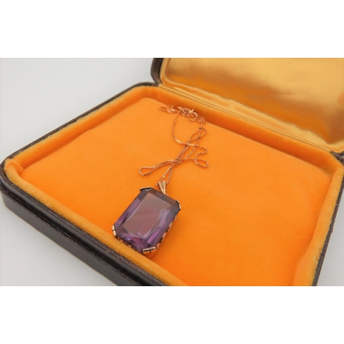 16 - 9 Carat Gold Mounted Ladies Pendant Necklace Set with Amethyst Approximately 2cm High Attractive Col...