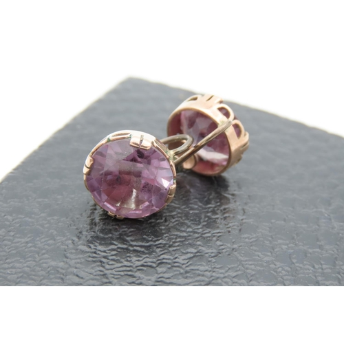 17 - Pair of Ladies 9 Carat Gold Mounted Amethyst Set Earrings Good Colour...