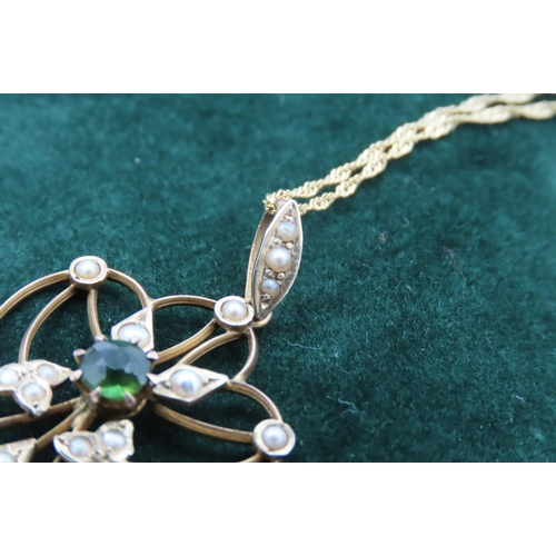 18 - Peridot and Sea Pearl Decorated Ladies Pendant Drop Necklace Mounted on 9 Carat Yellow Gold Further ...