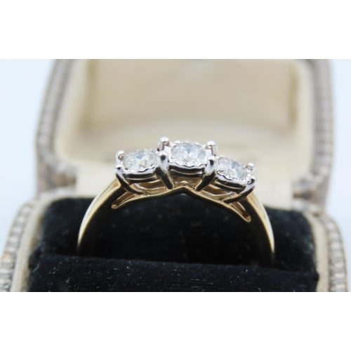 2 - 9 Carat Yellow Gold Ring Set with Three Graduated Round Brilliant Cut Diamonds Ring Size P...