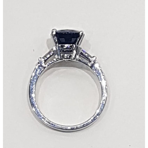 20 - Oval Cut Sapphire Ladies Ring Set in Platinum Mounted on Further Platinum Band Circa 2000 Sapphire C...