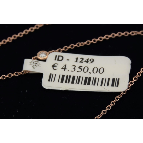 204 - Ladies 18 Carat Yellow Gold Necklace Tiffany Design with Diamonds of High Colour 90cm Long...