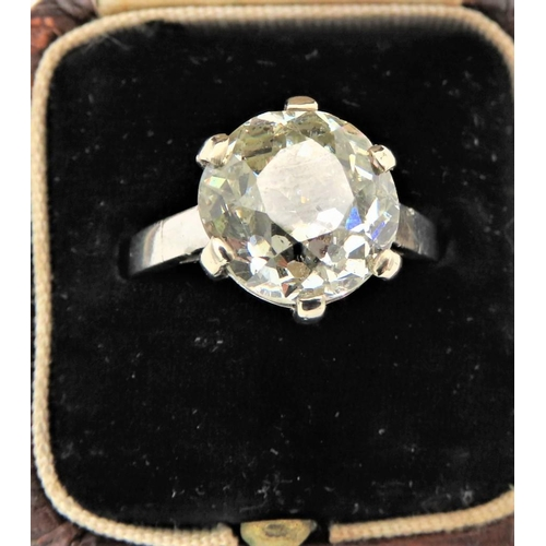 206 - European Old Cut Ladies Solitaire Diamond Ring Mounted on 18 Carat Gold Band Diamond 5.4 Carat Appro...