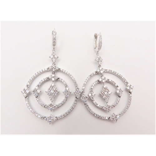207 - Pair of Diamond Earrings of Circular Geometric Form Mounted on 18 Carat Gold Approximately 2.6 Carat...