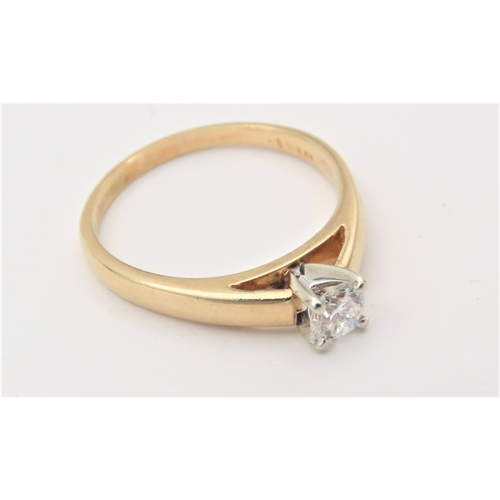 208 - 18 Carat Gold Set Solitaire Ladies Ring Mounted on 18 Carat Gold Band Ring Size Q Good Clear Bright ...