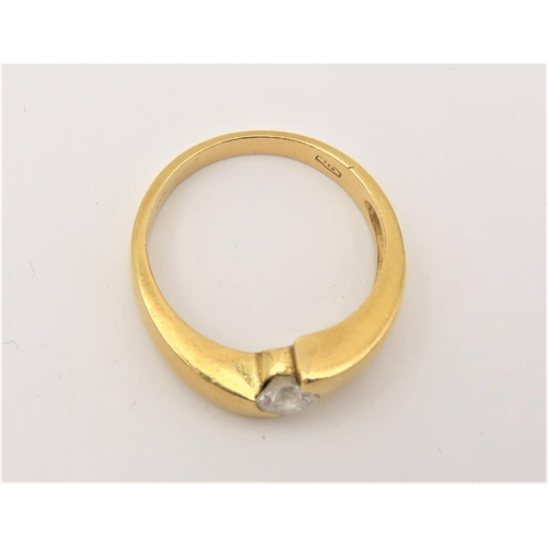 209 - Crossover Set Ladies Solitaire Diamond Ring Mounted on 18 Carat Yellow Gold High Colour Ring Size P