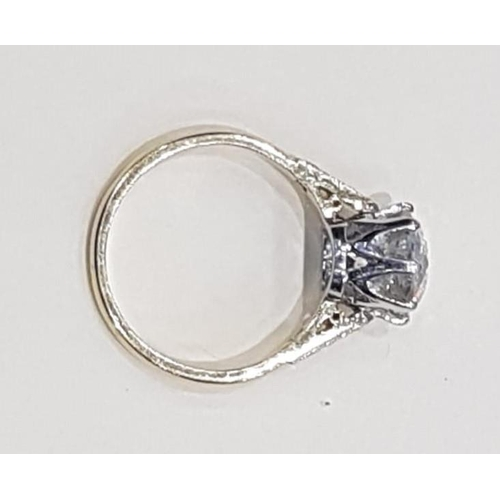 21 - Diamond Solitaire Ring Mounted on 18 Carat Yellow Gold Set in Platinum Diamond Approximately 2.8 Car...