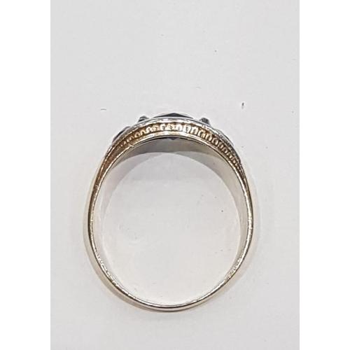 22 - Sapphire Three Stone Ladies Ring Set in Platinum Mounted on 18 Carat Gold Circa 1920 Ring Size T...