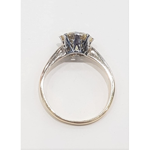 23 - 18 Carat Yellow Gold and Platinum Set Natural Yellow Diamond Ring Solitaire Diamond Approximately 2....