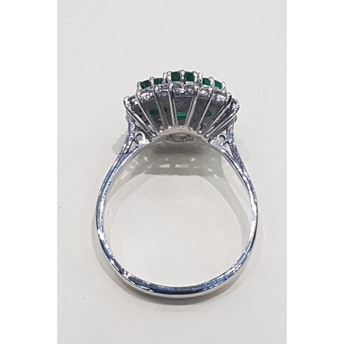 24 - Emerald and Diamond Ladies Cluster Ring Mounted 18 Carat Yellow Gold Circa 1950 Emeralds of Attracti...