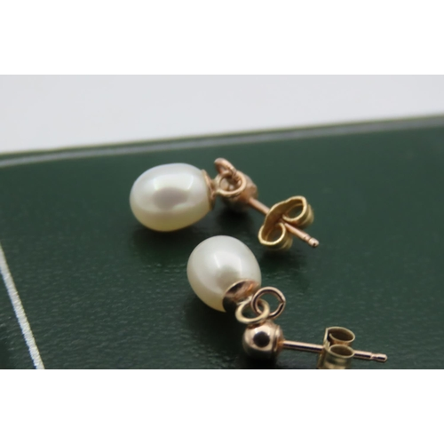 25 - Pair of 9 Carat Yellow Gold Mounted Ladies Pearl Earrings...