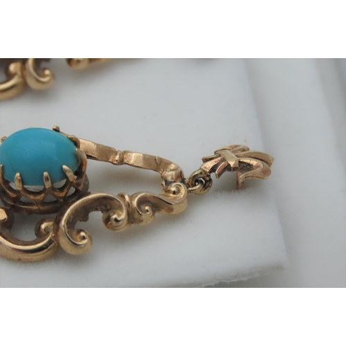 26 - Turquoise Set Cabochon Cut Ladies Earrings Mounted on 9 Carat Yellow Gold Rocco Form...