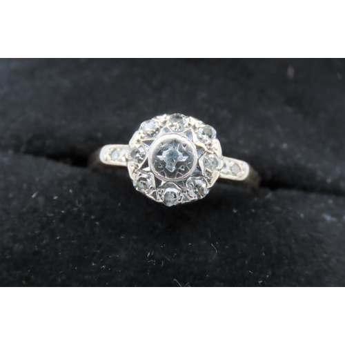 29 - 18 Carat Yellow Gold and White Gold Set Ladies Ring with Central Round Brilliant Cut Diamond Surroun...