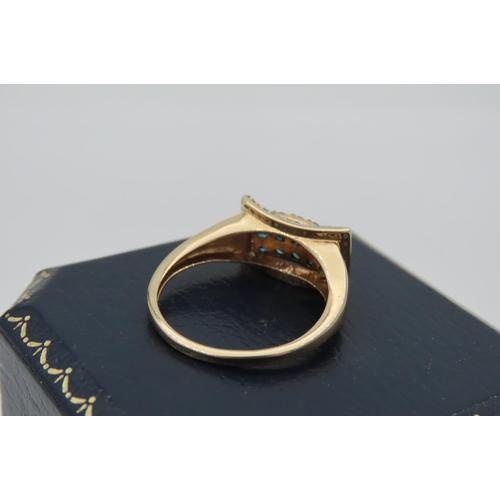 3 - Pave Set Ladies Ring Inverted Convex Rectangular Mount Set with Fifteen Round Brilliant Cut Diamonds...