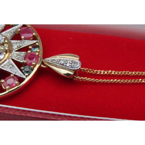 30 - Large Round Ladies Pendant Necklace Set in 9 Carat Yellow Gold Central Cluster of Various Gemstones ...