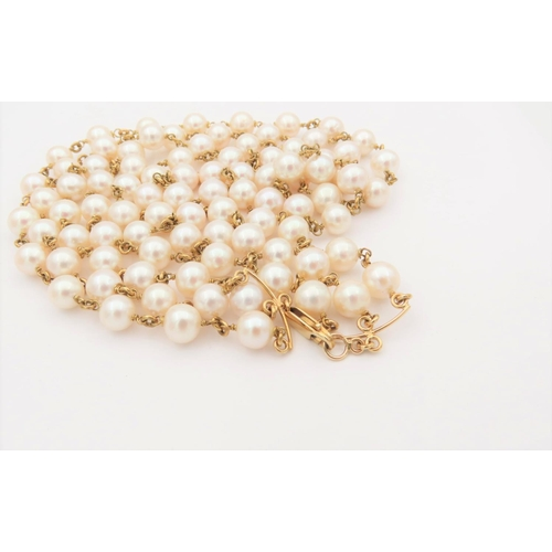 31 - Pearl Three Strand Ladies Necklace of Attractive Hue Set on 18 Carat Yellow Gold Necklace Length 48c...