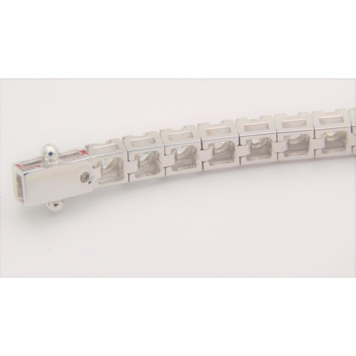 32 - Three Carat Diamond Ladies Tennis Line Bracelet of High Colour, Good Clarity and Cut With Safety Cla...