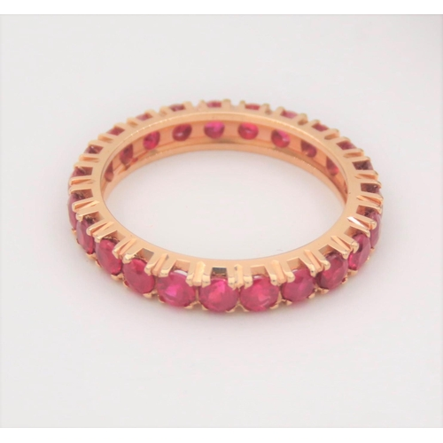 33 - Ruby Set Eternity Ring Mounted on 18 Carat Yellow Gold Ring Size L and a Half...