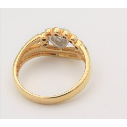 34 - Heart Motif Ladies Diamond Ring Mounted on 18 Carat Yellow Gold Ring Size M and a Half...