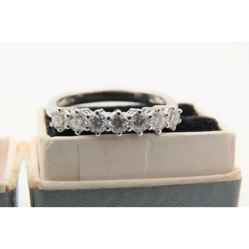 35 - Seven Stone Diamond Ring Mounted on 18 Carat White Gold Good Colour Ring Size O and a Half...