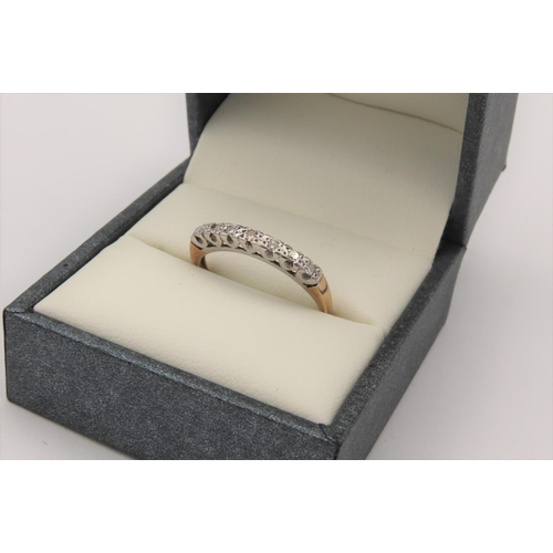Diamond Line Ring Set in 18 Carat White Gold Further Mounted on 18 Carat Yellow Gold Band Ring Size N Contained within Presentation Box