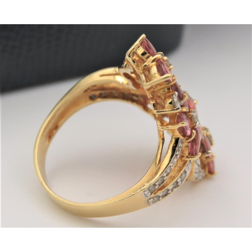 36 - Pink Sapphire and Diamond Set Ladies Ring Mounted on 18 Carat Yellow Gold Attractive Colour and Form...