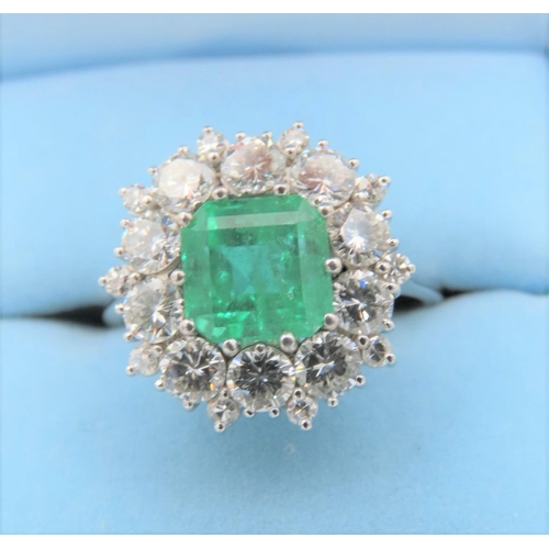 37 - Emerald and Diamond Cluster Ring Approximately 1 Carat of Diamonds Surrounding 1 Carat Emerald of At...