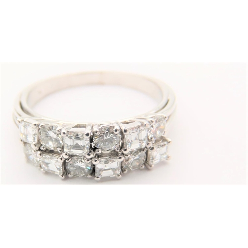 38 - Twin Line Set Twelve Diamond Ladies Ring Mounted on 18 Carat White Gold Band Size U and a Half Diamo...