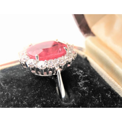 39 - Ruby and Diamond Ladies Cluster Ring Attractive Colour Mounted on 18 Carat White Gold Band Ring Size...