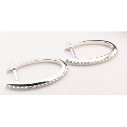 40 - Pair of 18 Carat White Gold Diamond Hoop Form Earrings Stones Bright Colour Good Scintillation Well ...