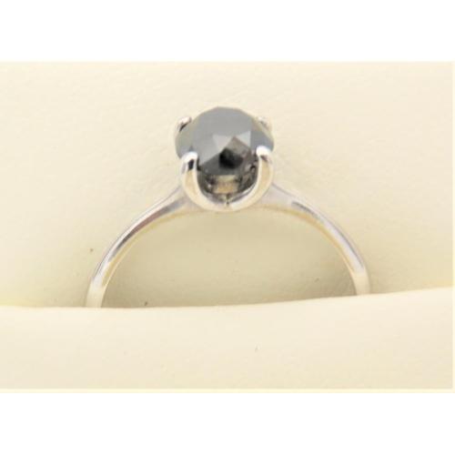 41 - Black Diamond Solitaire Ladies Ring Mounted on 18 Carat Gold Diamond 1 Carat Weight Ring Size N...